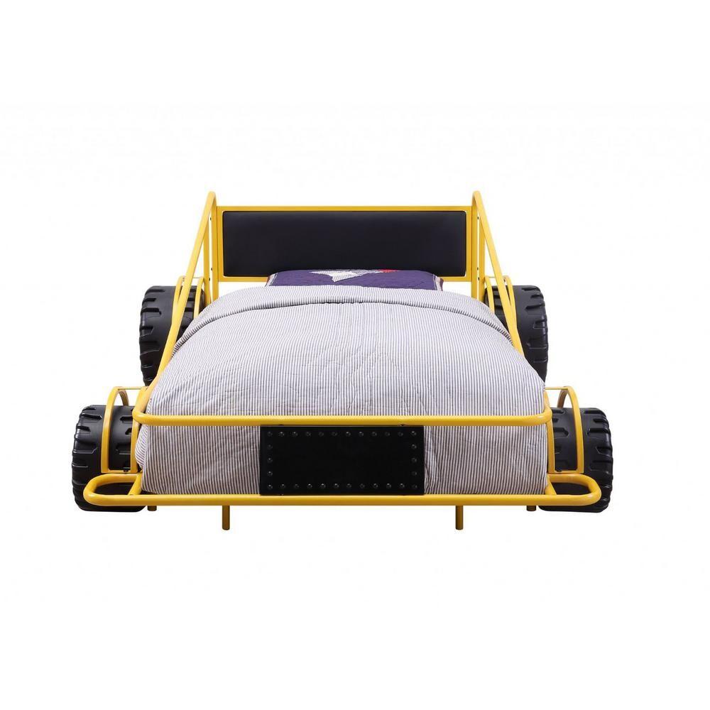 HomeRoots Amelia Yellow PU Metal Twin Bed