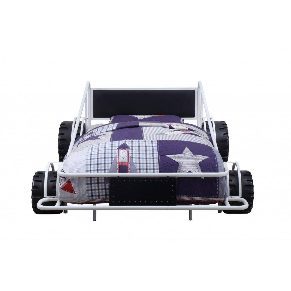 HomeRoots Amelia White and Black Twin Bunk Bed, White/ Black