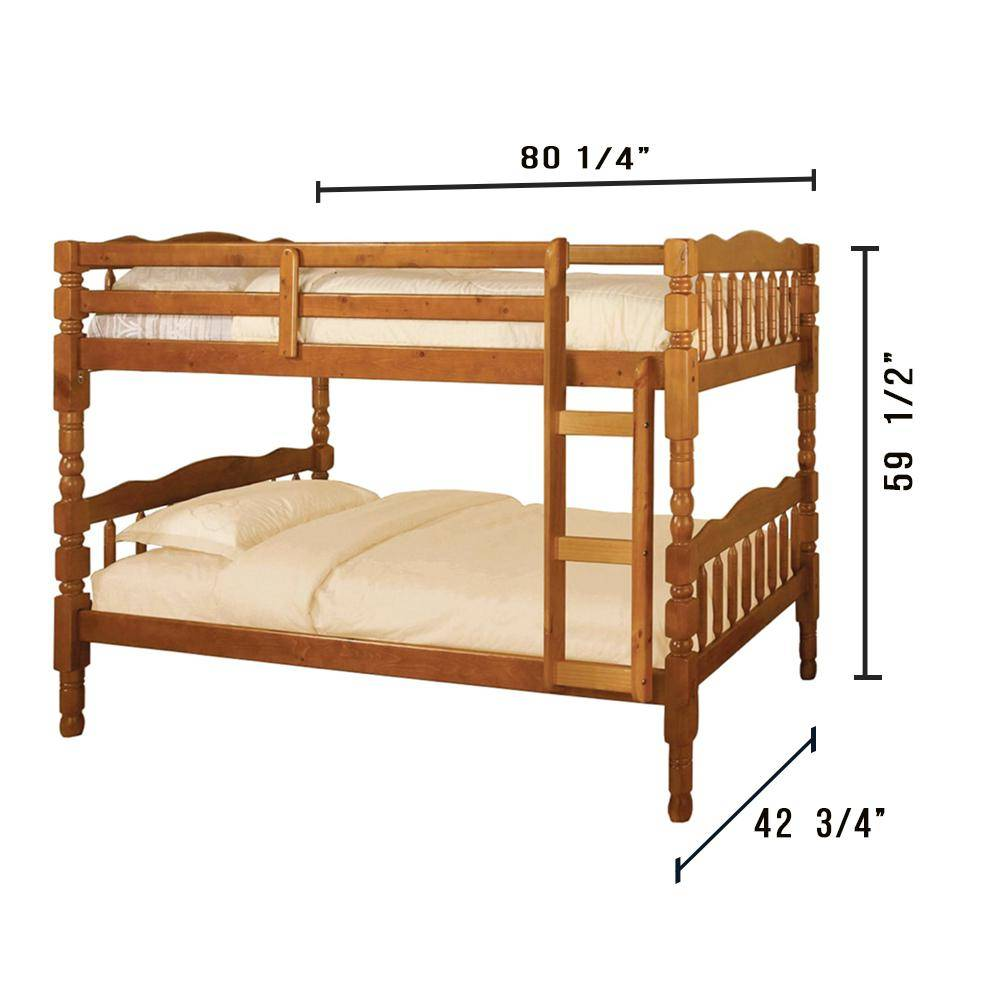 William's Home Furnishing Catalina Twin Bunk Bed in Oak finish, Brown