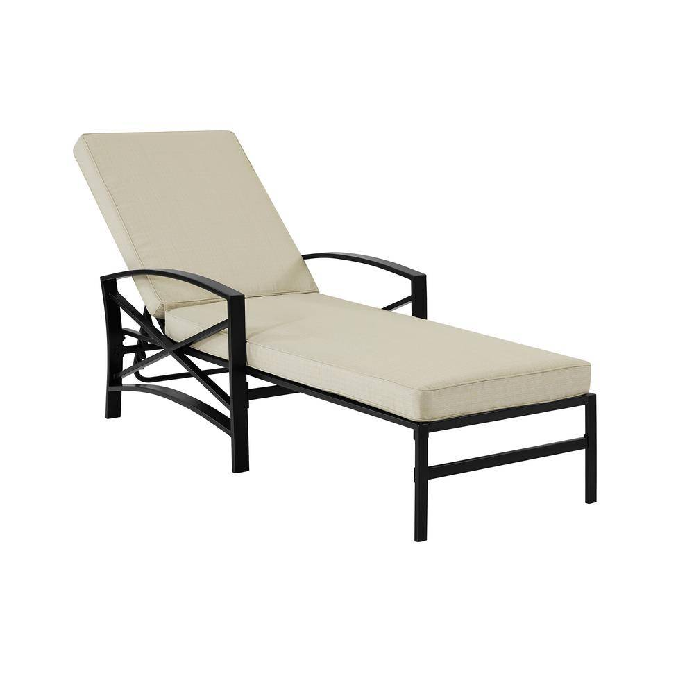 CROSLEY FURNITURE Kaplan Bronze Metal Outdoor Chaise Lounge with Oatmeal Cushion