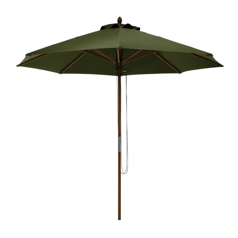 Classic Accessories Montlake 9 ft. Bamboo Market Patio Umbrella in Heather Fern