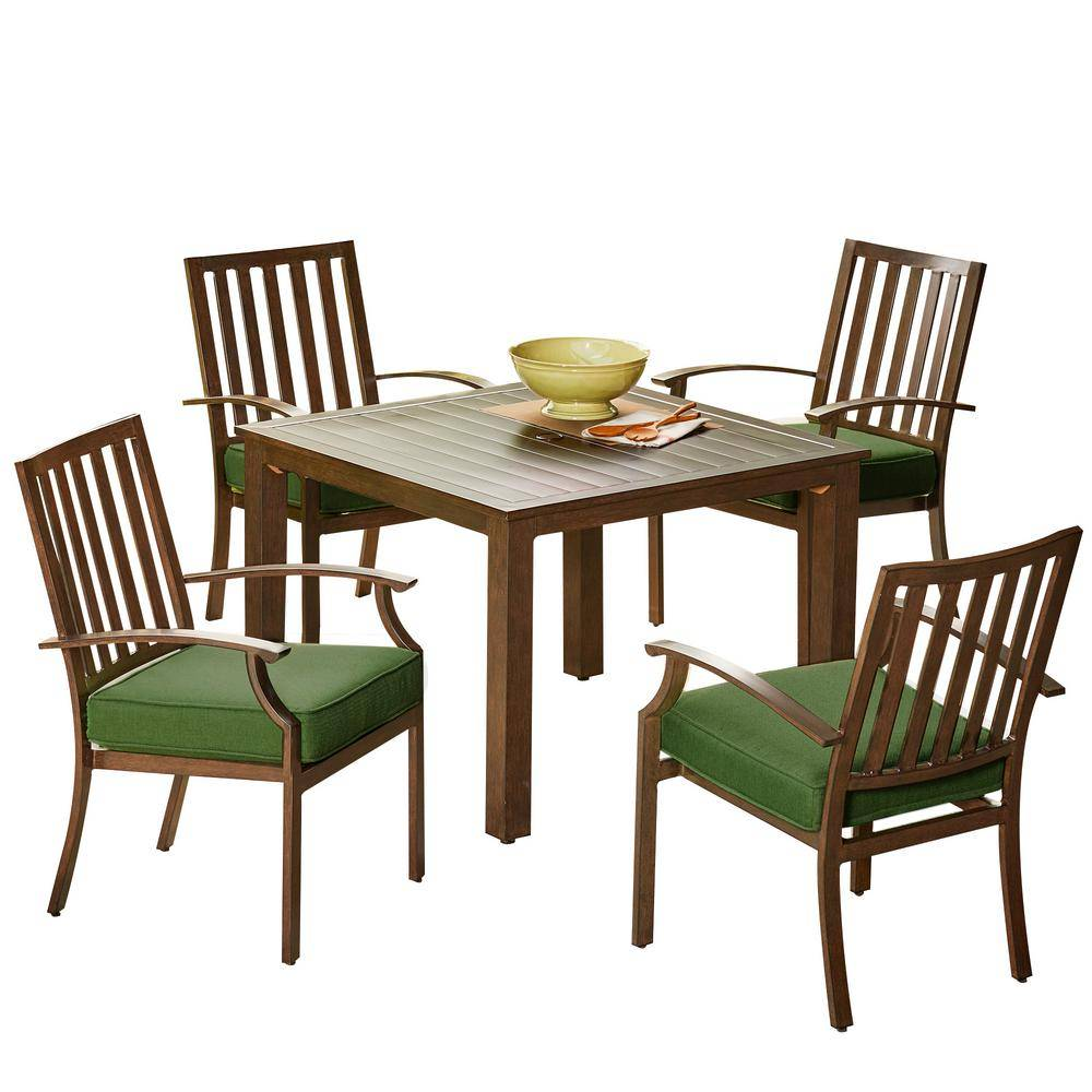Royal Garden Bridgeport 5-Piece Metal Stationary Outdoor Dining Set with Green Cushions