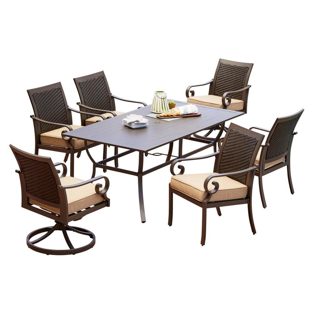 Royal Garden Milano 7-Piece Aluminum Outdoor Dining Set with Tan Cushions