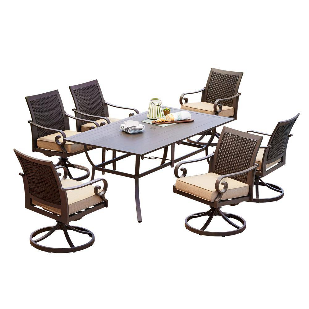 Royal Garden Milano 7-Piece Aluminum Swivel Outdoor Dining Set with Tan Cushions
