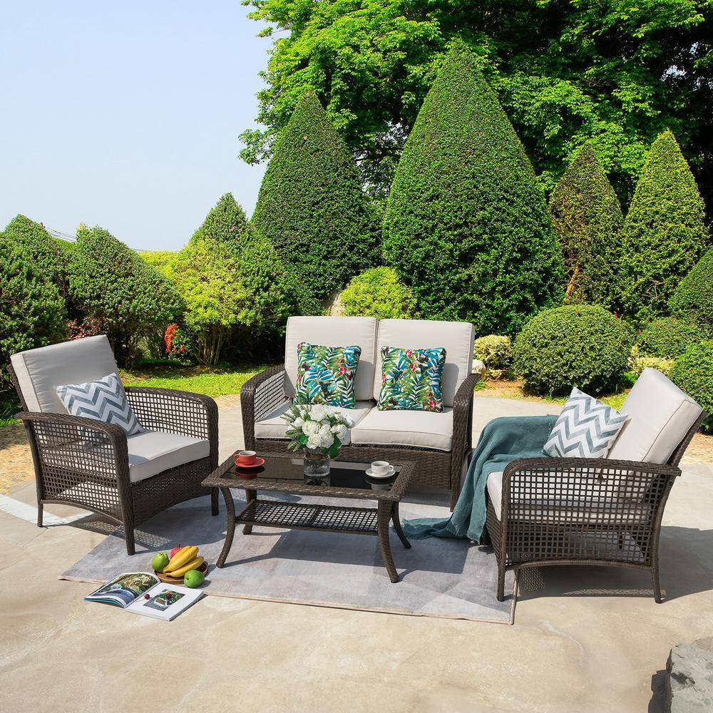 Nuu Garden Rattan 4-Piece Outdoor Wicker Sofa Set Patio Conversation set with Beige Cushions