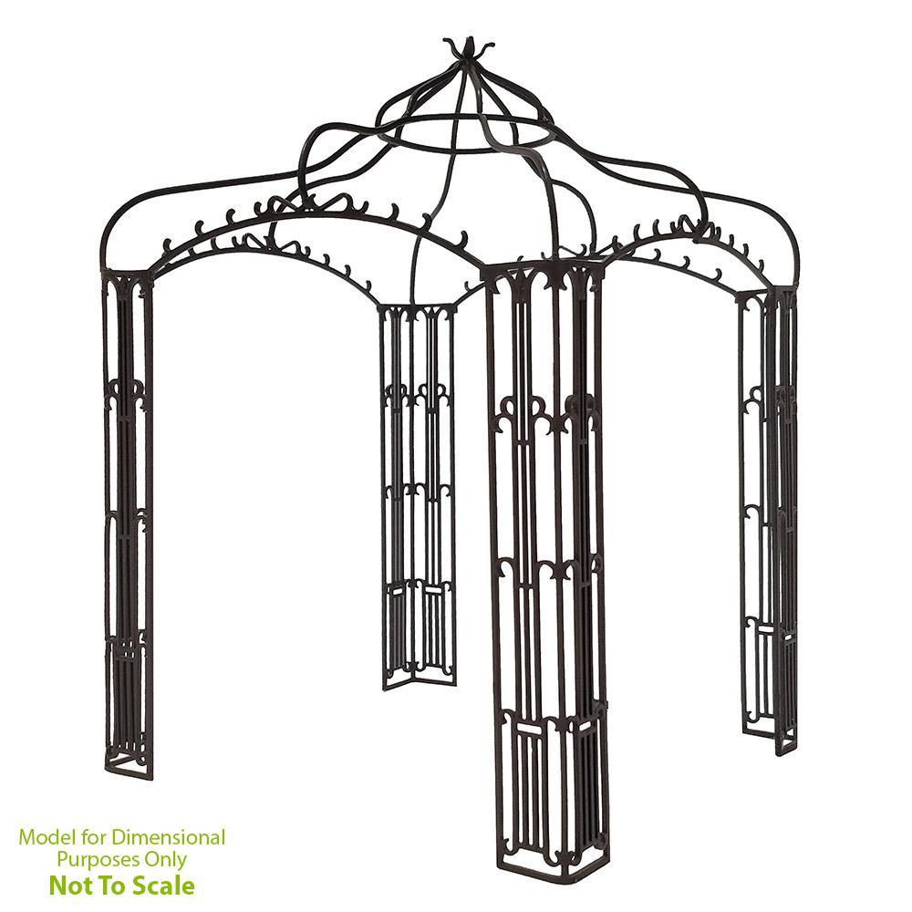 Achla Designs Outdoor Garden Allegro Pavilion, 136 in. Tall Graphite Powder Coat Finish, Black