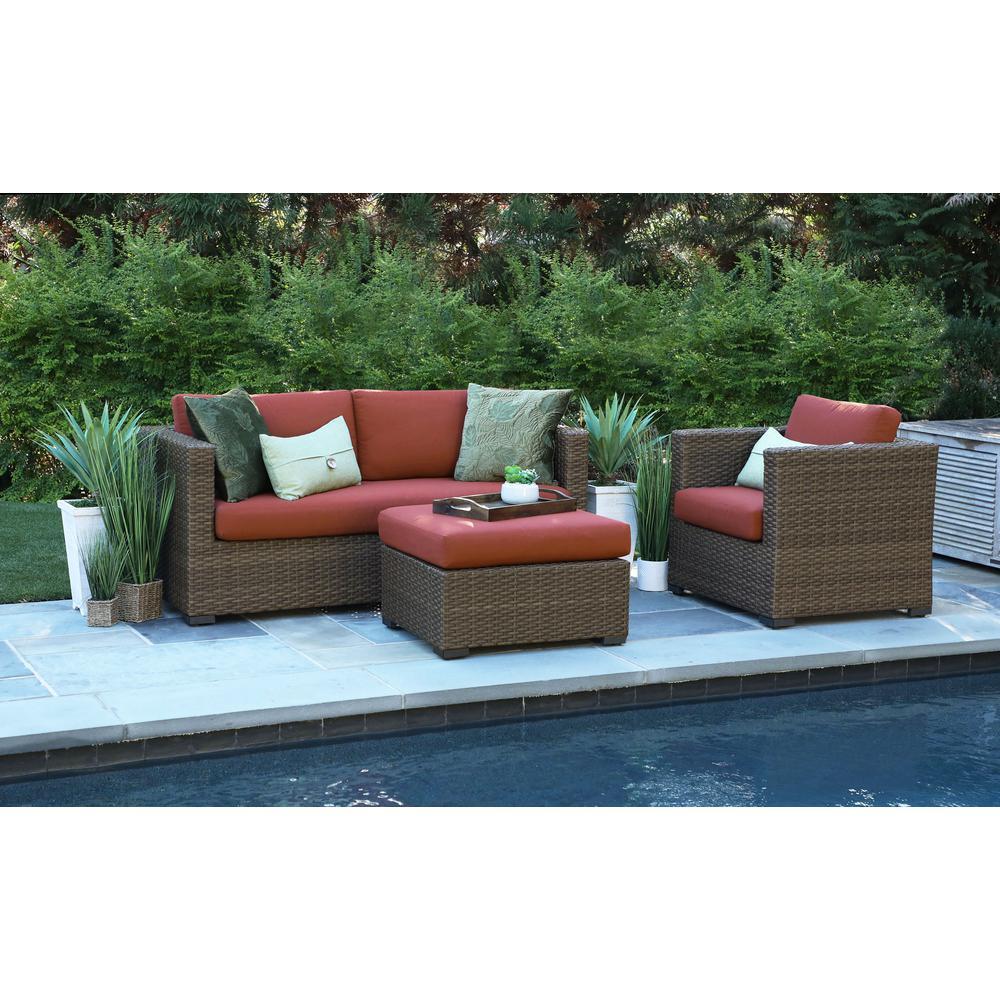 Canopy Redbay 3-Piece Resin Wicker Patio Deep Seating Set with Sunbrella Canvas Henna Cushions