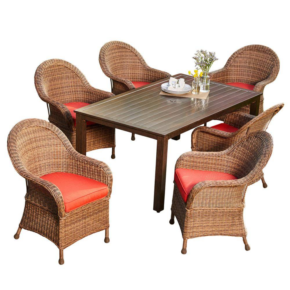 Royal Garden Hacienda 7-Piece Wicker Outdoor Dining Set with Red Cushions