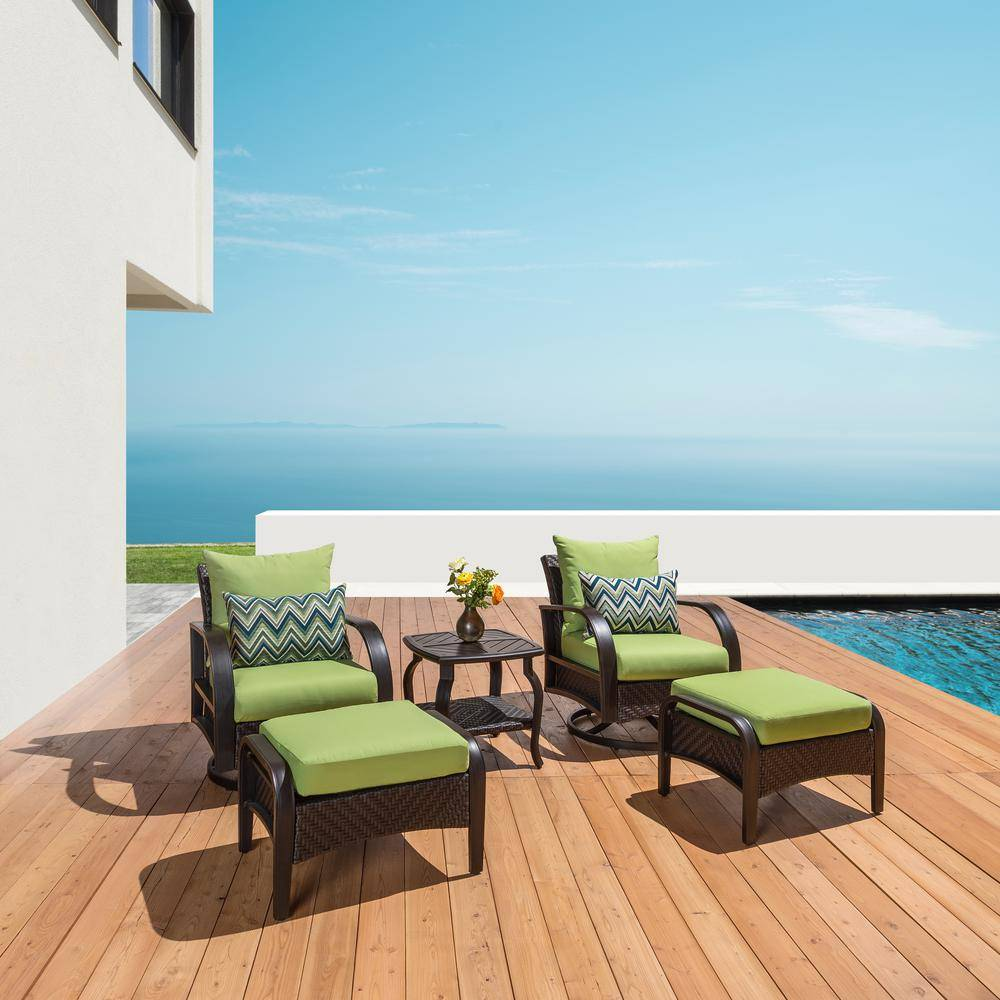 RST Brands Barcelo 5-Piece Motion Wicker Patio Deep Seating Conversation Set with Sunbrella Ginkgo Green Cushions