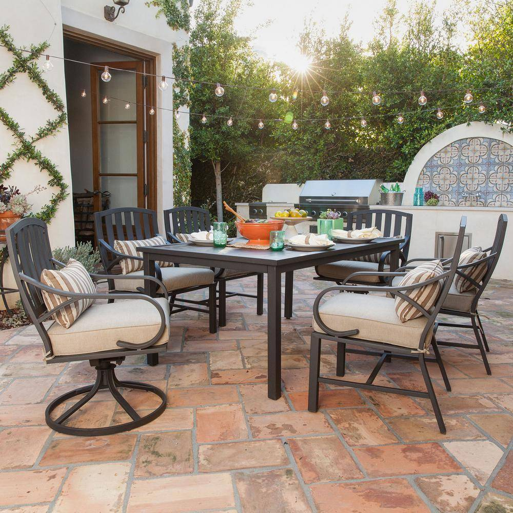 Royal Garden Norman 7-Piece Outdoor Dining Set with Beige Cushions