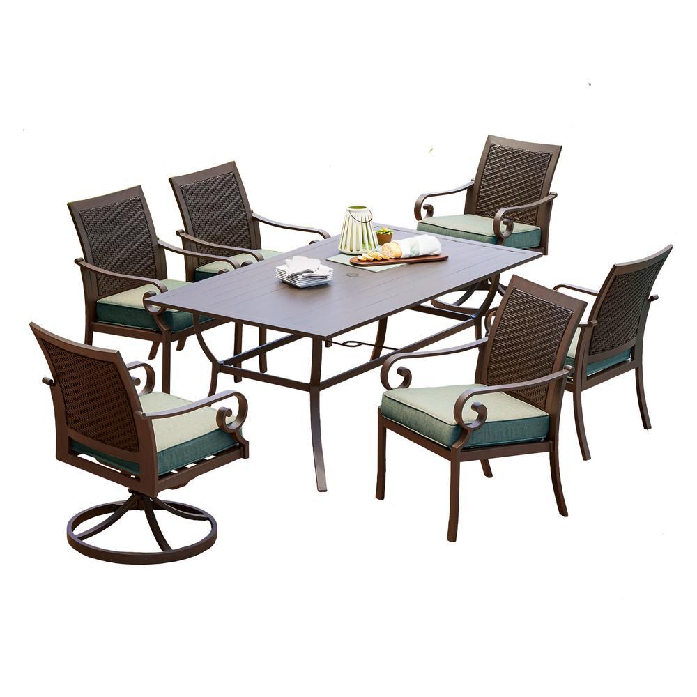 Royal Garden Milano 7-Piece Aluminum Outdoor Dining Set with Teal Cushions