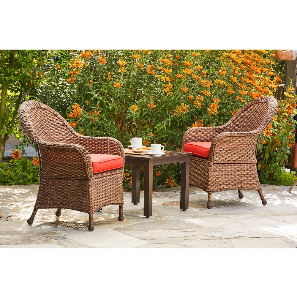 Royal Garden Hacienda 3-Piece Wicker Outdoor Chat Set with Red Cushions