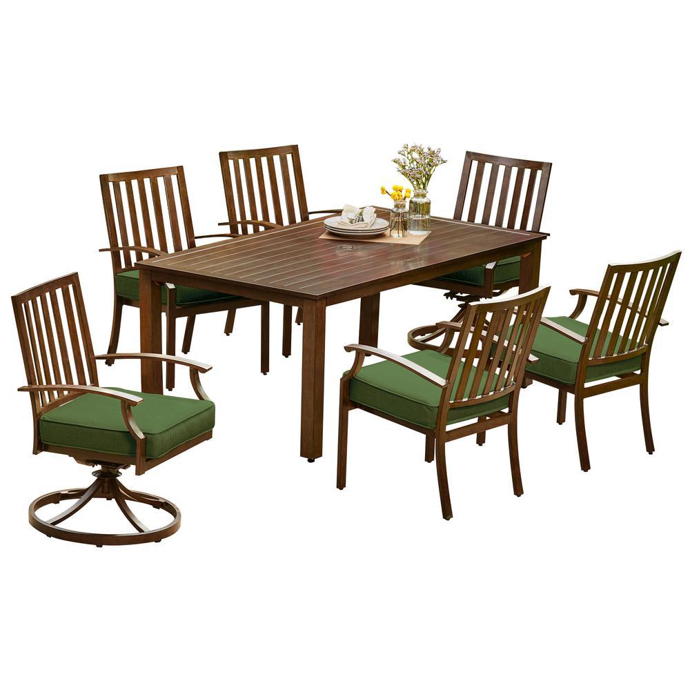 Royal Garden Bridgeport 7-Piece Aluminum Outdoor Dining Set with Green Cushions