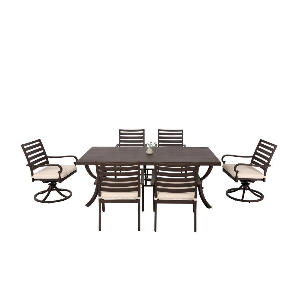 Nuu Garden Denali 7-Piece Brown Aluminum Outdoor Patio Dining Set with Tan Cushions