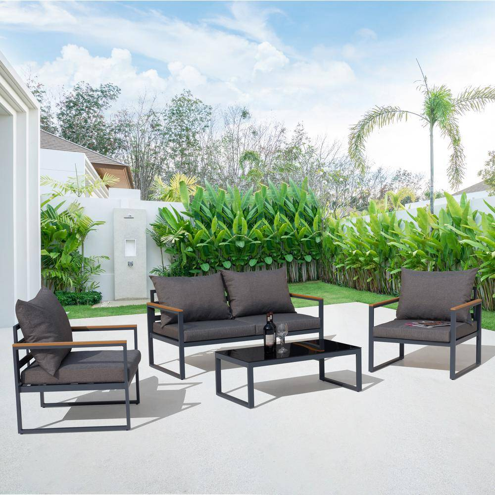 Nuu Garden 4-Piece Aluminum Outdoor Patio Conversation Set with Black Cushions