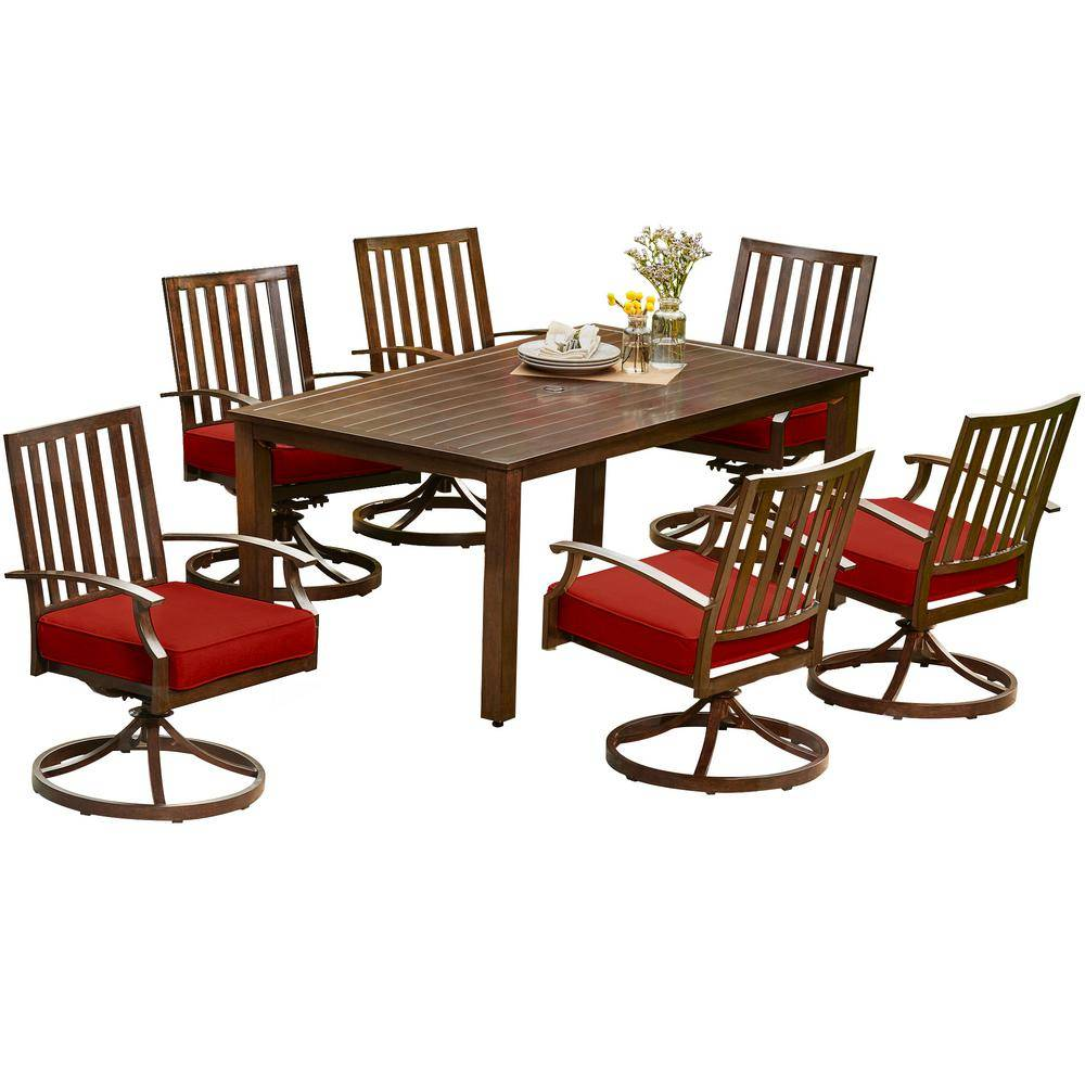 Royal Garden Bridgeport 7-Piece Aluminum Motion Outdoor Dining Set with Red Cushions