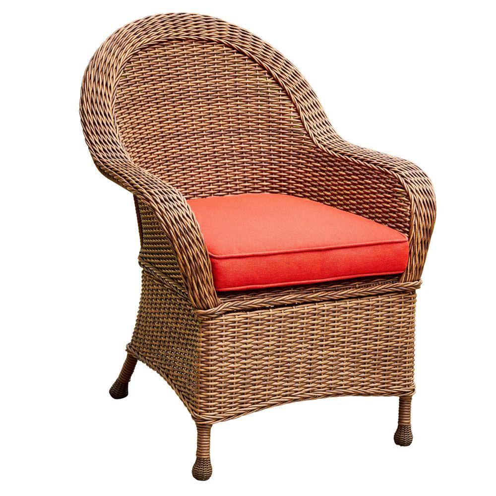 Royal Garden Hacienda Heights Wicker Outdoor Dining Chair with Red Cushion (2-Pack)