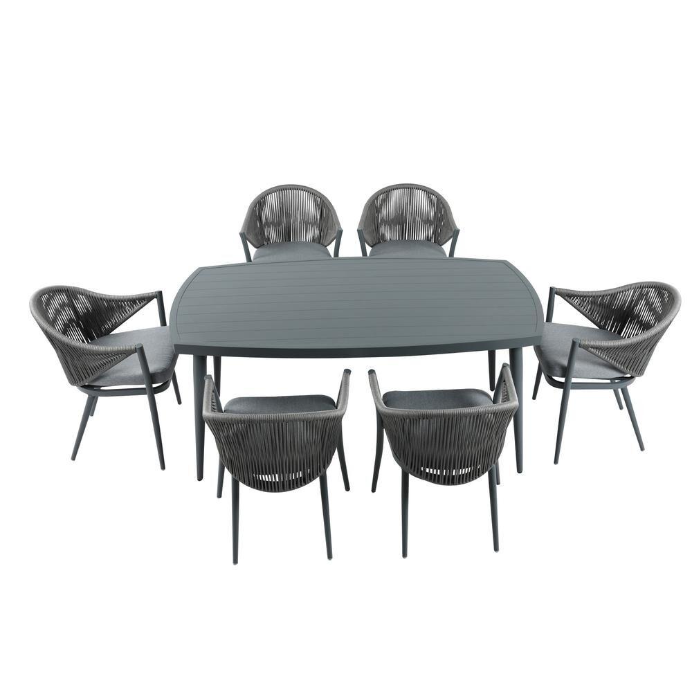 Nuu Garden Patio 7-Piece Aluminum Outdoor Dining Set with Grey Cushion