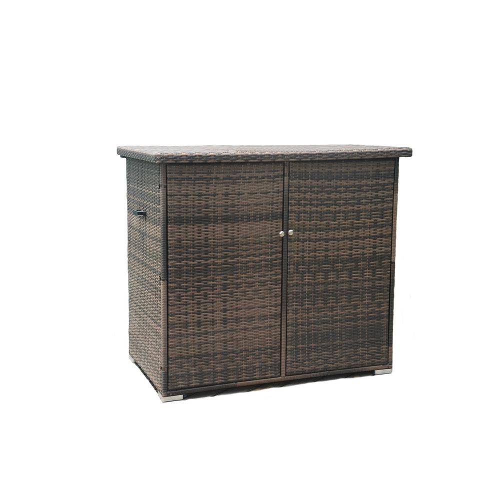 DIRECT WICKER Kate 290 Gal. All Weather Resin Storage Wicker Deck Box in Brown
