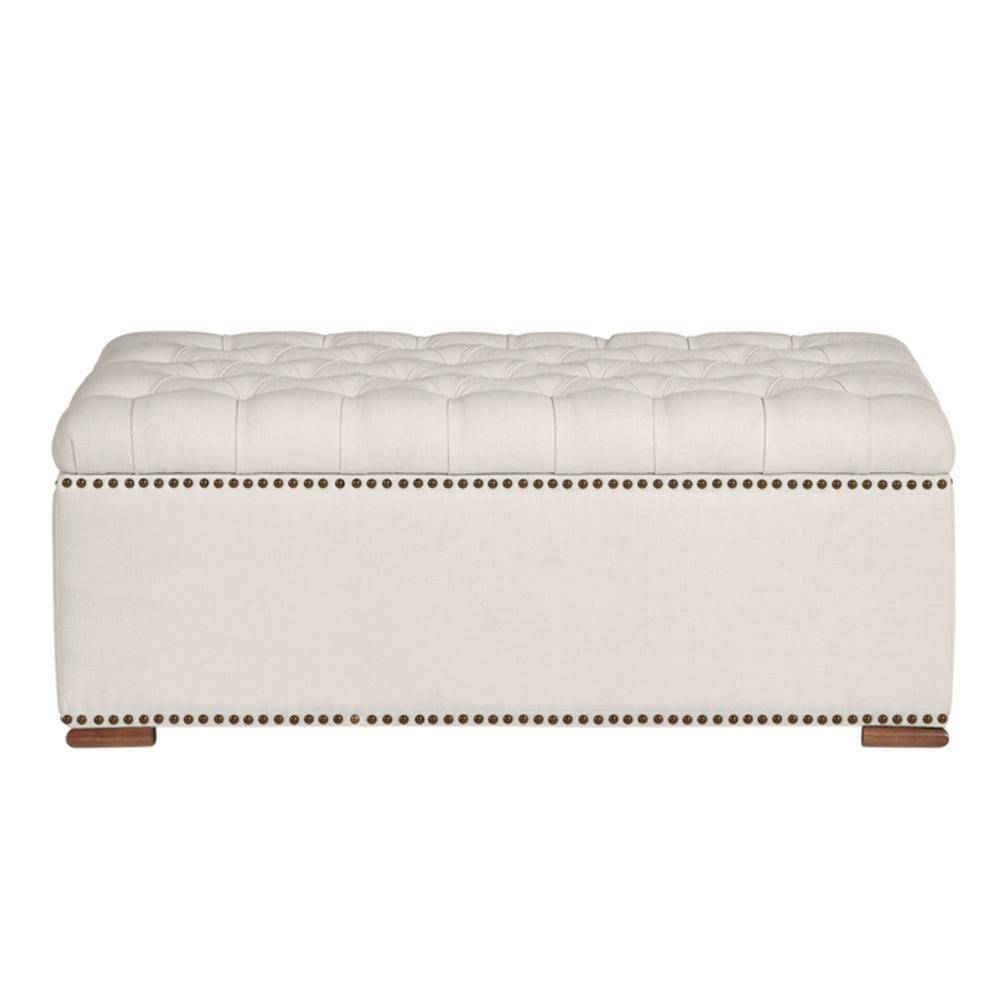 Home Decorators Collection Rectangular Evere Ivory Upholstered Storage Ottoman (41.34 in. W x 16.54 in. H)