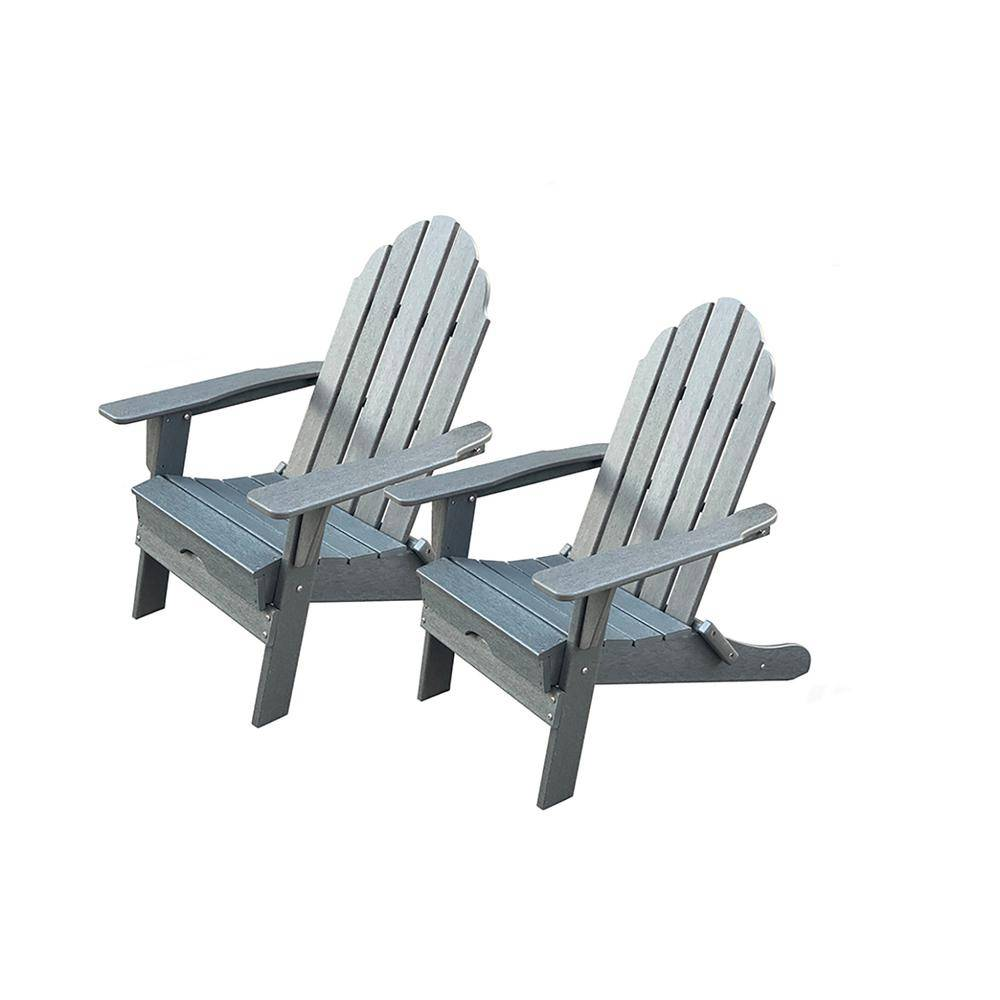 LuXeo Balboa Gray Folding Plastic Adirondack Chair (2-Pack)