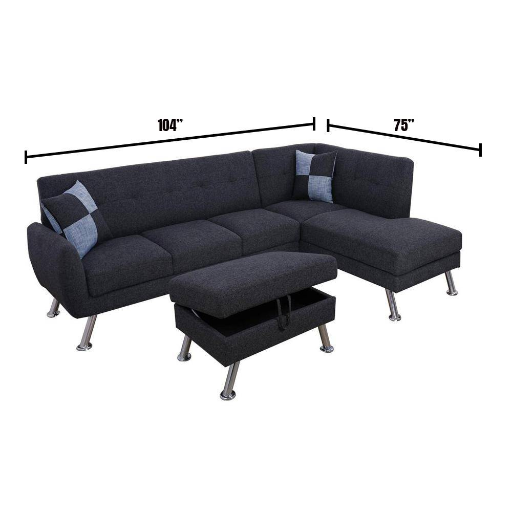 Star Home Living Cam 3-Piece Black/Gray Linen 3-Seater L-Shaped Right-Facing Sectional Sofa with Ottoman, Black Grey