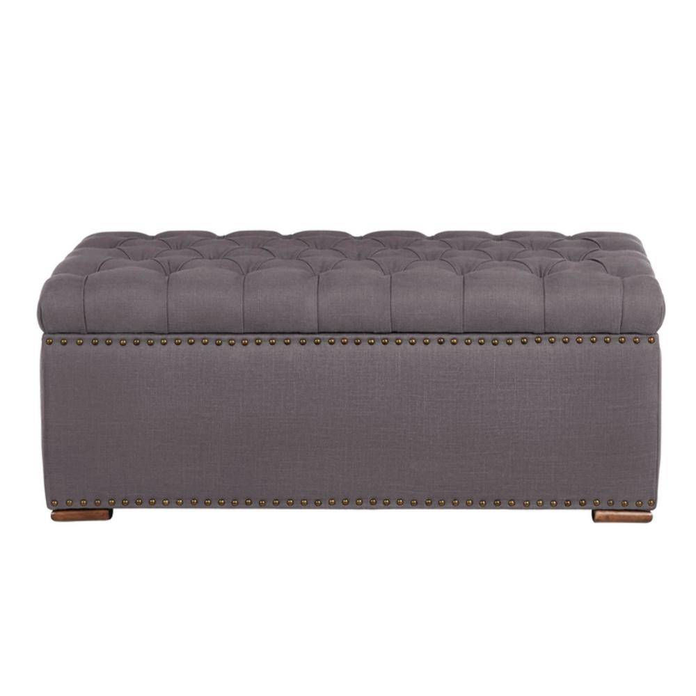 Home Decorators Collection Rectangular Evere Charcoal Gray Upholstered Storage Ottoman (41.34 in. W x 16.54 in. H)