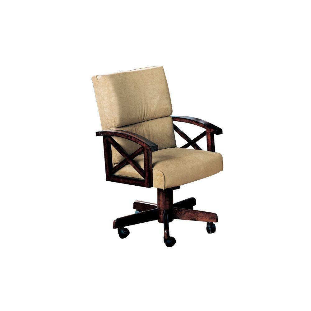 Benjara Upholstered Brown Arm Game Chair