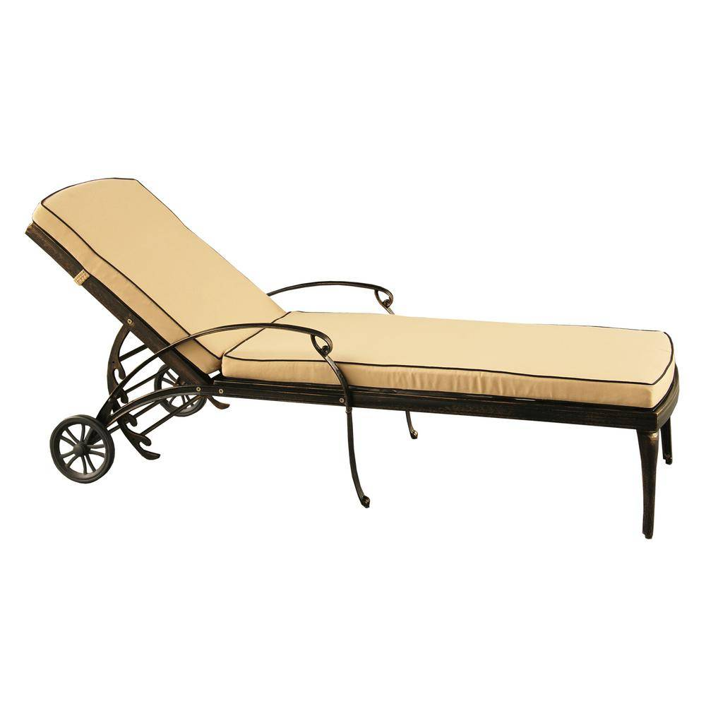 Oakland Living Contemporary Modern Mesh Lattice Aluminum Outdoor Patio Garden Pool Chaise Lounge in Bronze with Wheels and Cushion