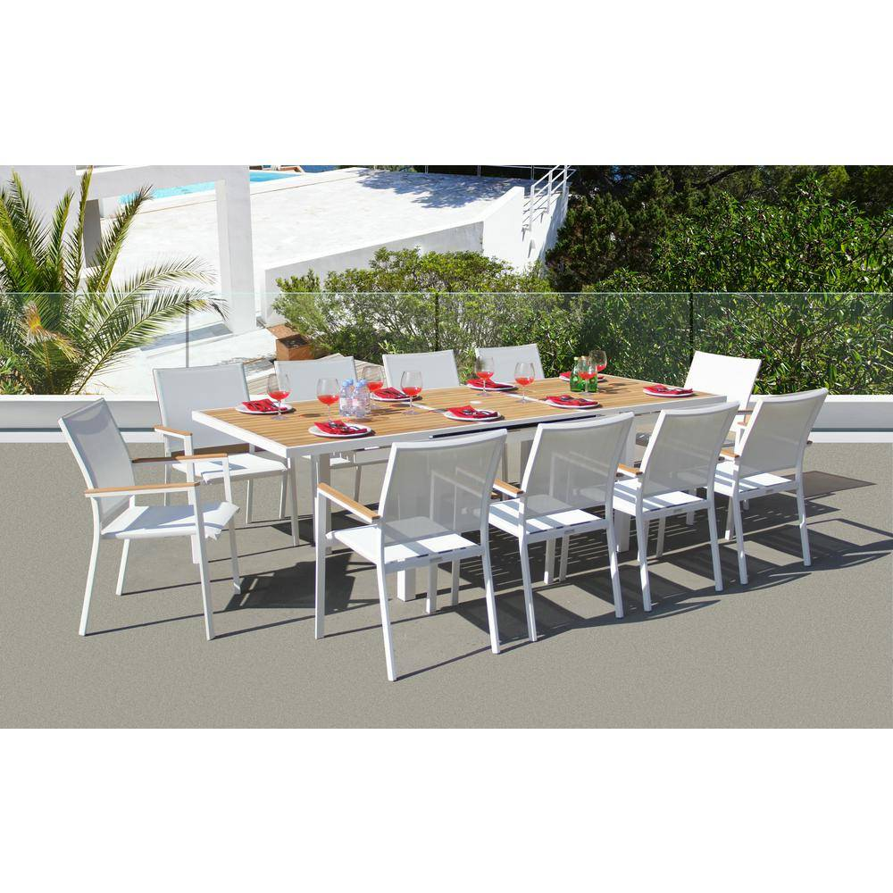 BELLINI HOME AND GARDENS Essence White 11-Piece Aluminum Outdoor Dining Set with Sling Set in White