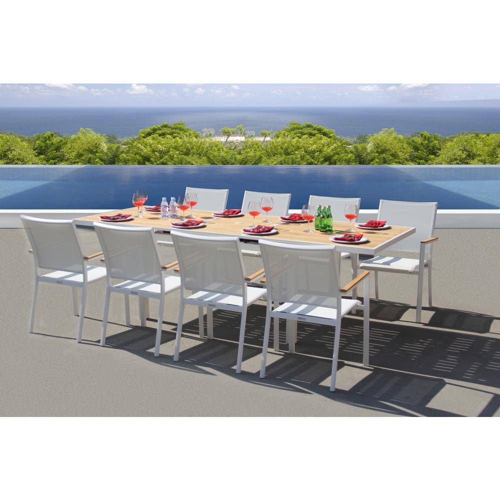 BELLINI HOME AND GARDENS Essence White 9-Piece Aluminum Outdoor Dining Set with Sling Set in White
