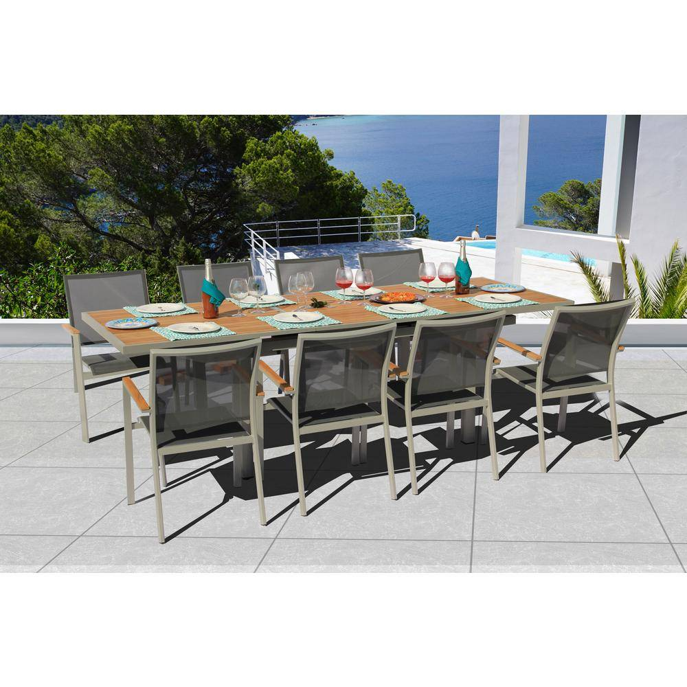BELLINI HOME AND GARDENS Essence Grey Seagull 9-Piece Aluminum Outdoor Dining Set with Sling Set in Pewter