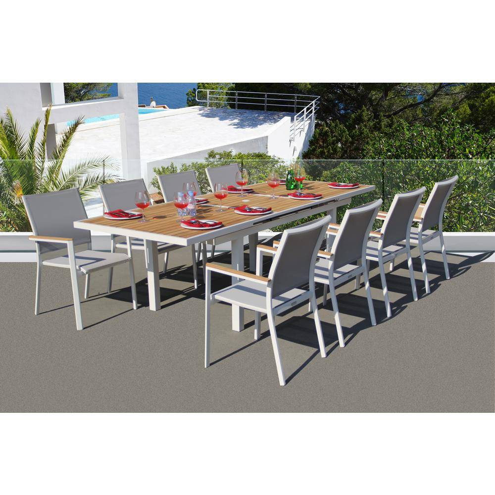 BELLINI HOME AND GARDENS Essence White 9-Piece Aluminum Outdoor Dining Set with Sling Set in Mouse Grey