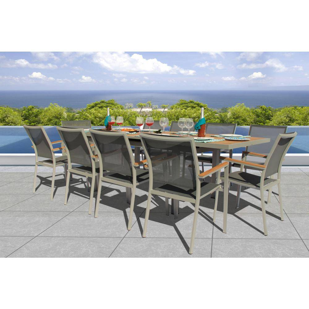 BELLINI HOME AND GARDENS Essence Grey Seagull 11-Piece Aluminum Outdoor Dining Set with Sling Set in Pewter