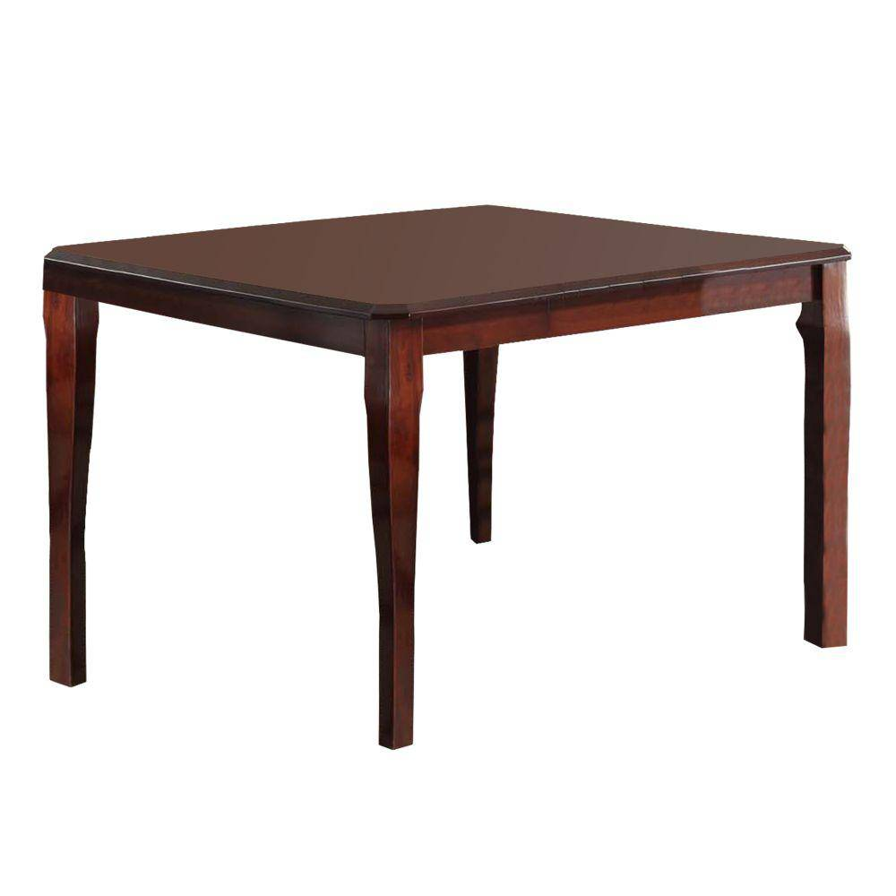 Benjara 36 in. H Brown Wooden Counter Height Dining Table with Lazy Susan