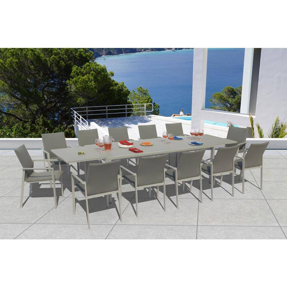 BELLINI HOME AND GARDENS Ritz Grey Seagull 13-Piece Aluminum Outdoor Dining Set with Sling Set in Ash Grey