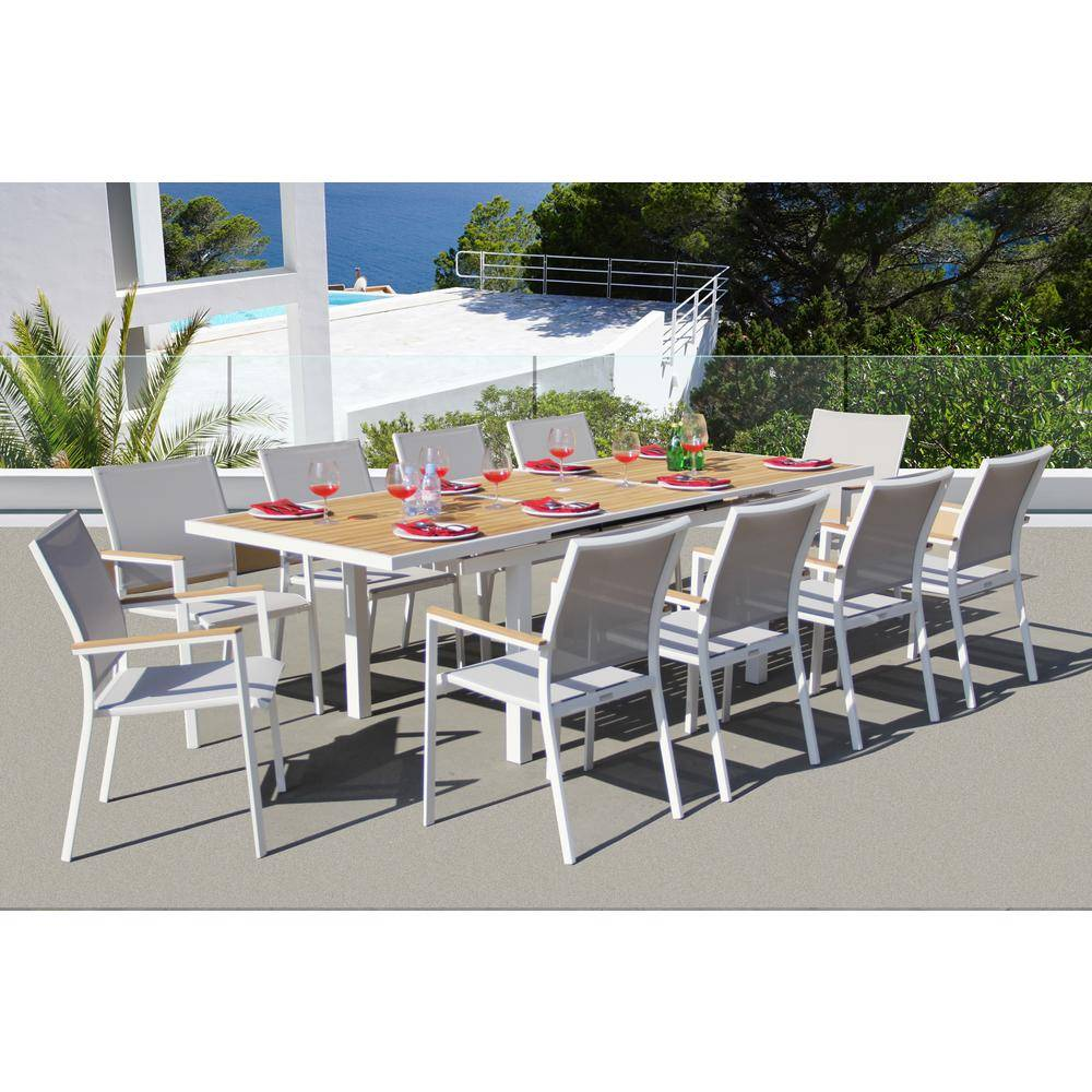 BELLINI HOME AND GARDENS Essence White 11-Piece Aluminum Outdoor Dining Set with Sling Set in Mouse Grey