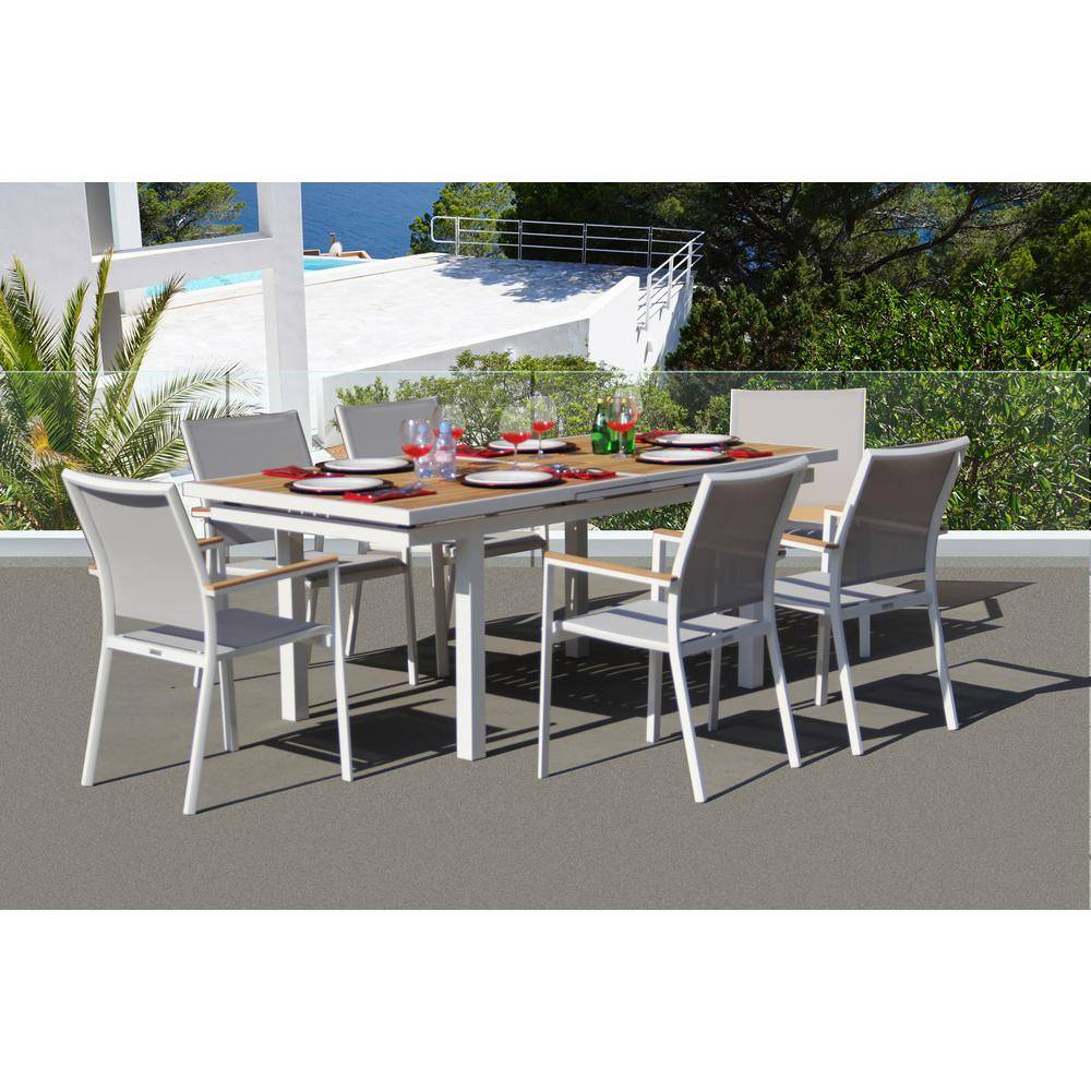 BELLINI HOME AND GARDENS Essence White 7-Piece Aluminum Outdoor Dining Set with Sling Set in Mouse Grey