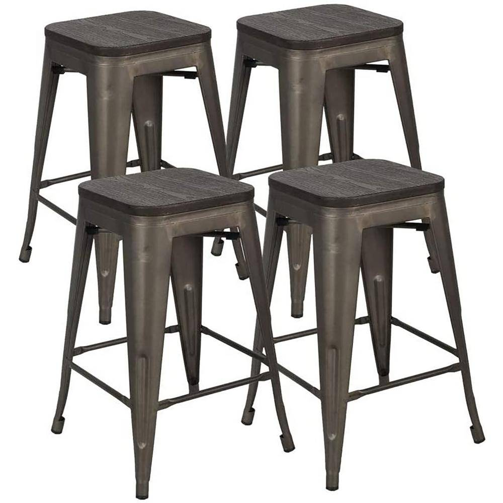 Boyel Living 24 in. Home Bar Stools Metal Bar Stools with Wood Seat, High Backless Stackable Patio Kitchen Dining Stool (Set of 4), Bronze