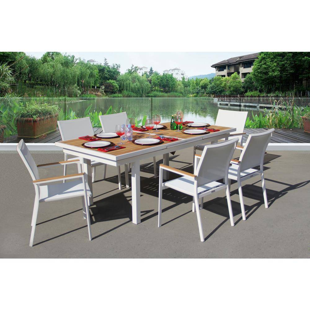 BELLINI HOME AND GARDENS Essence White 7-Piece Aluminum Outdoor Dining Set with Sling Set in White