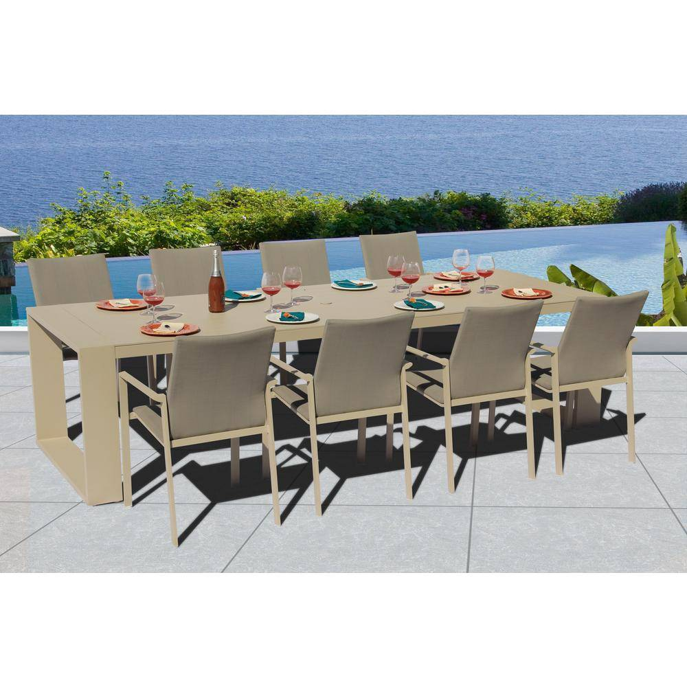 BELLINI HOME AND GARDENS Ritz.X Crema 9-Piece Aluminum Outdoor Dining Set with Sling Set in Pecan