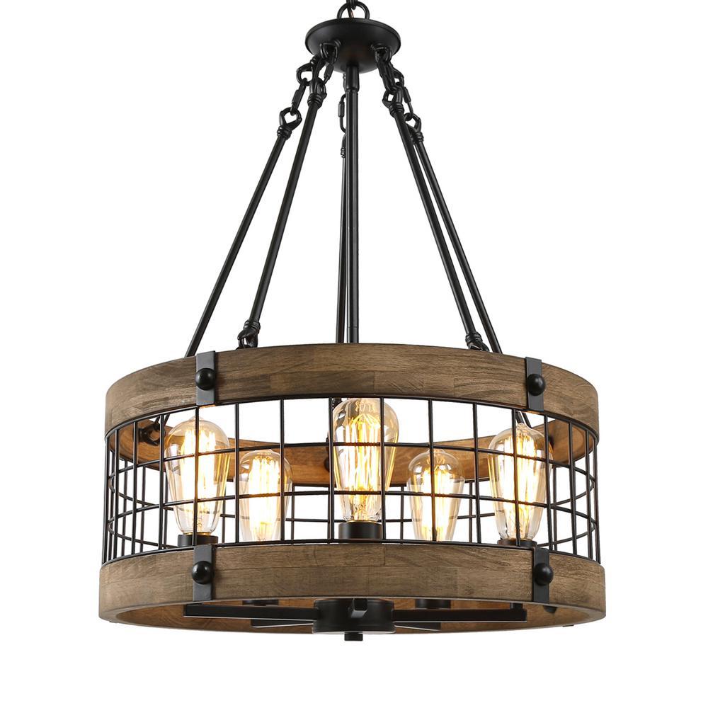 LNC Eliora Adjustable 5-Light Rustic Farmhouse Dining Room Wood Chandelier with Drum Grid Black Basket Accents