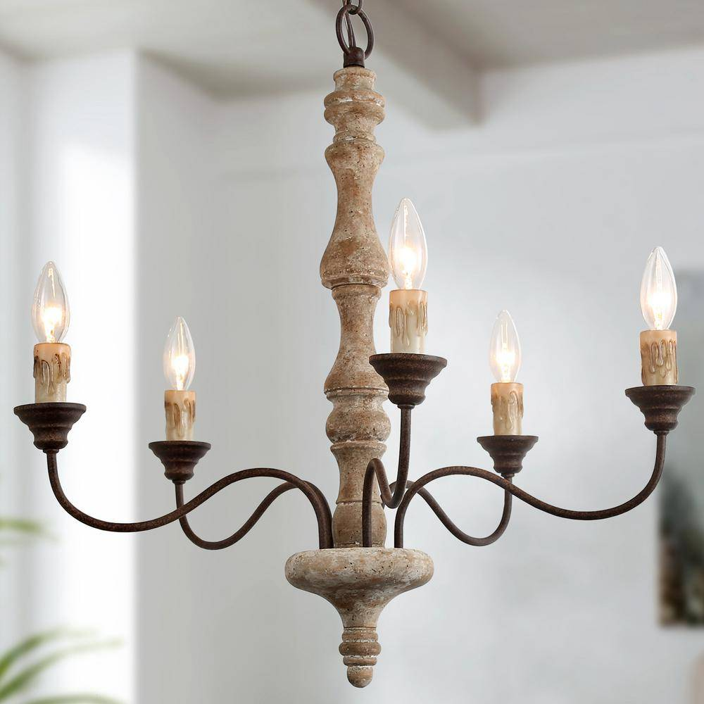 LNC 5-Light Farmhouse French Country Vintage White Wood Dining Candle-style Chandelier
