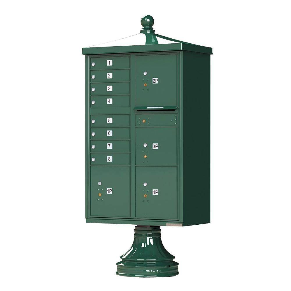 Florence 1570 8-Mailboxes 4-Parcel Lockers 1-Outgoing Vital Cluster Box Unit with Vogue Traditional Accessories, Forest Green Powder Coat