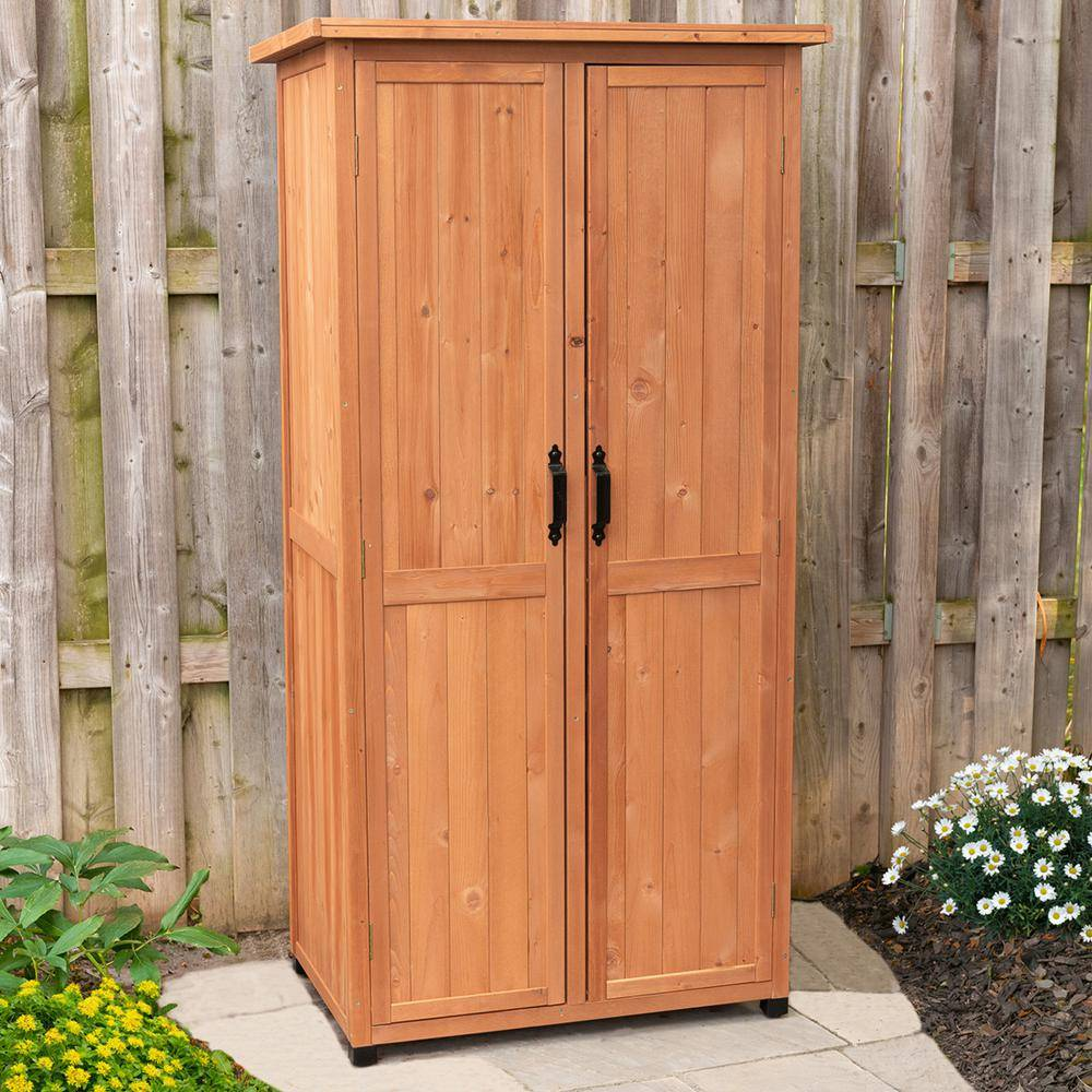 Leisure Season 24 in. x 36 in. x 72 in. Vertical Storage Shed, Browns / Tans