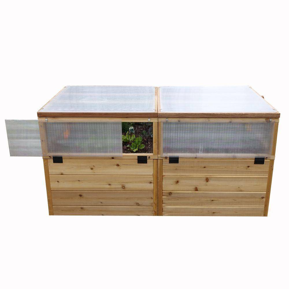 Outdoor Living Today 6 ft. x 3 ft. Garden in a Box with Greenhouse Kit, Natural Wood