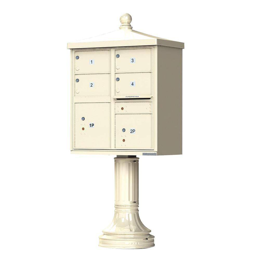 Florence 1570 Series 4-Large Mailboxes, 1-Outgoing, 2-Parcel Lockers, Vital Cluster Mailbox with Vogue Traditional Accessories, Sandstone Pebble