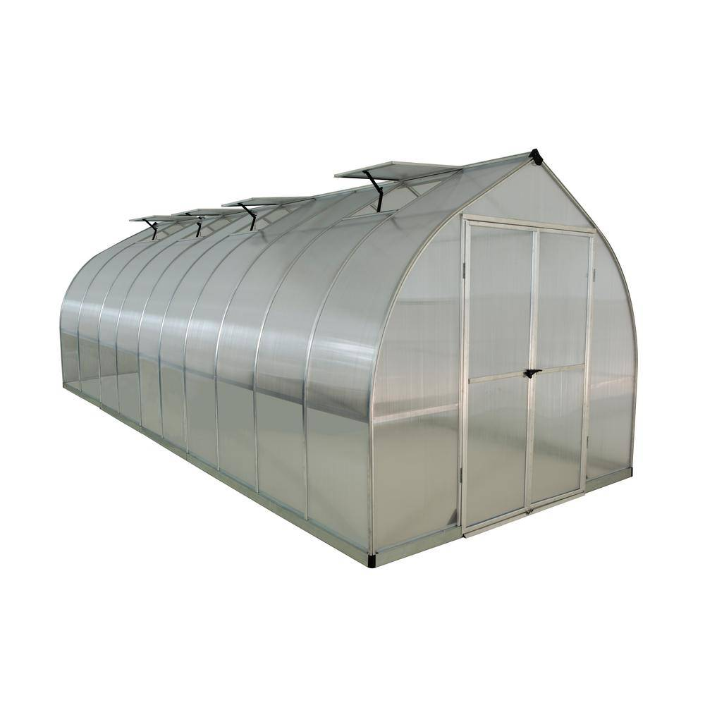 Palram Bella 8 ft. x 20 ft. Silver Polycarbonate Greenhouse