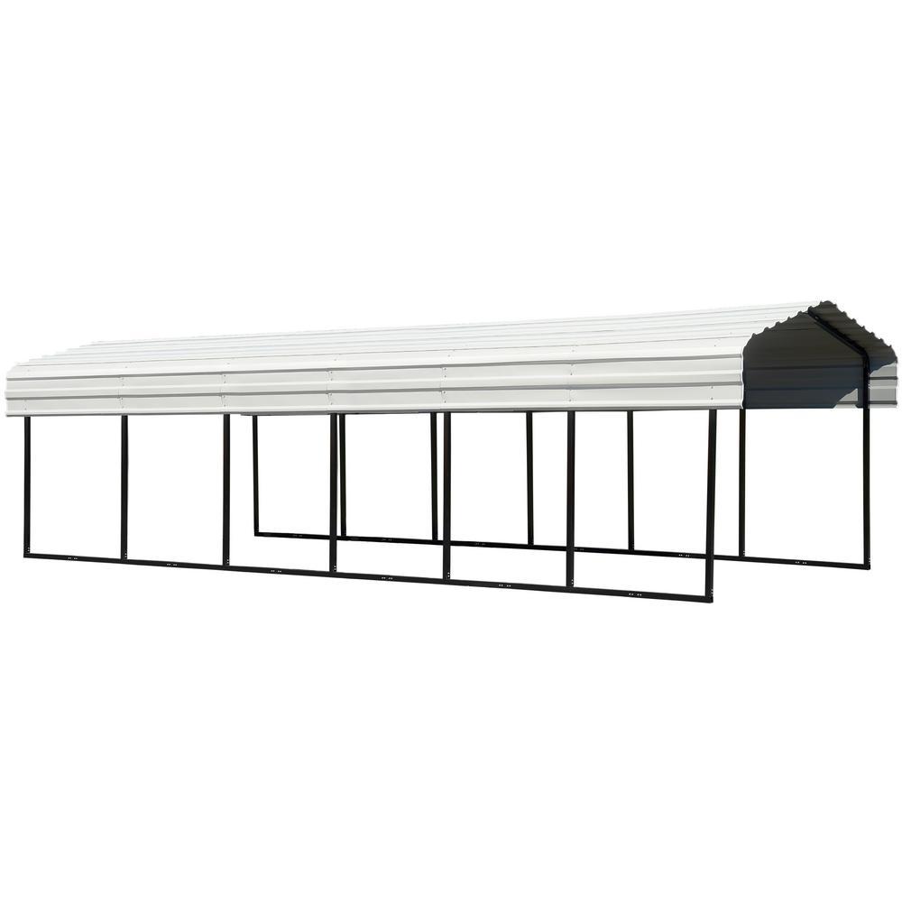 Arrow 10 ft. W x 29 ft. D Eggshell Galvanized Steel Carport, Car Canopy and Shelter