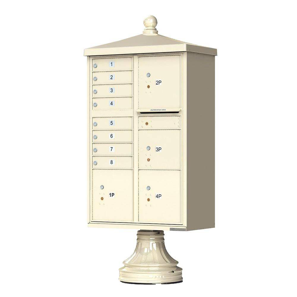 Florence 1570 Series 8-Mailboxes, 1-Outgoing, 4-Parcel Lockers, Vital Cluster Box Unit with Vogue Traditional Accessories, Sandstone Pebble